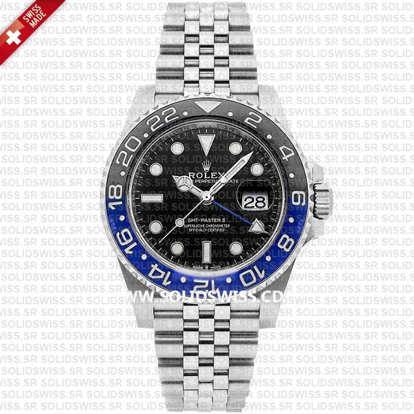 Rolex GMT-Master II Batman Blue Black Ceramic Bezel 904L Steel Jubilee Bracelet Watch