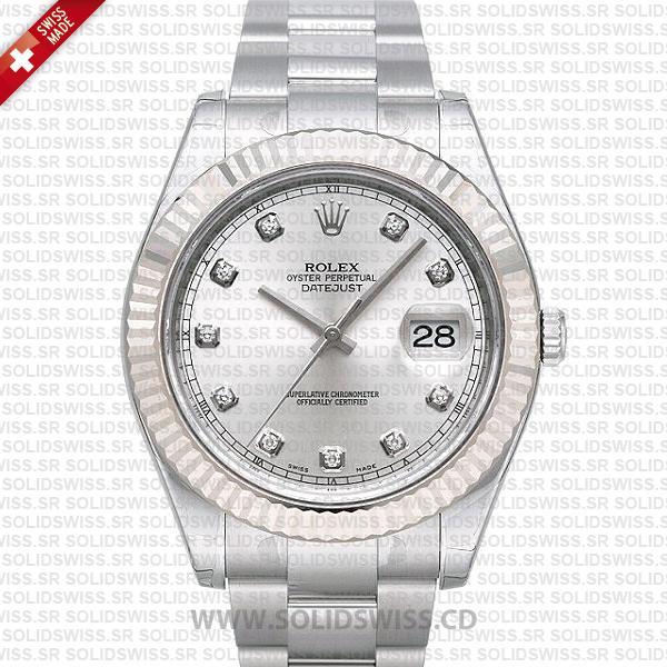 Rolex Datejust 41mm Silver Dial Diamonds   Fluted Bezel Watch