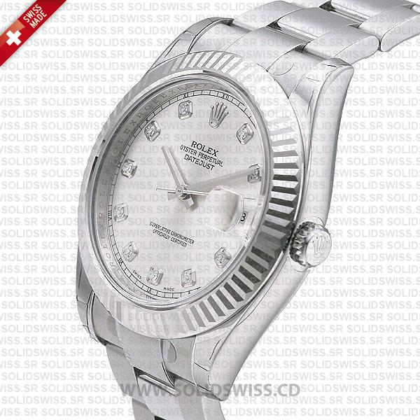 Rolex Datejust SS Silver Diamonds