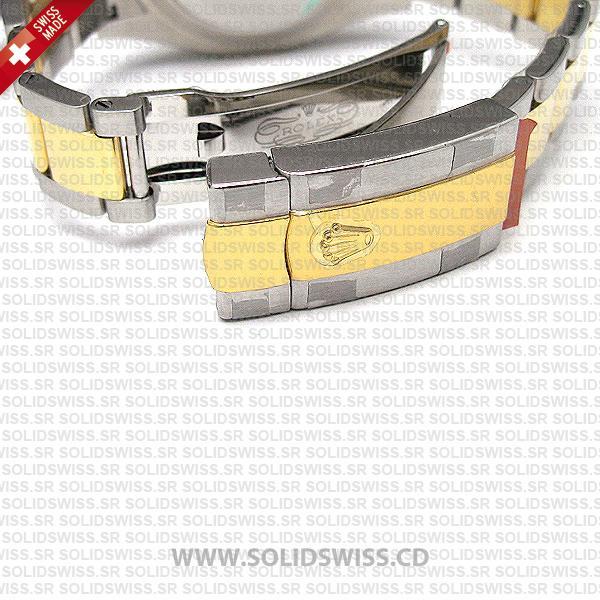 Rolex Datejust Two-Tone 18k Yellow Gold Green Roman Dial 41mm Replica Watch