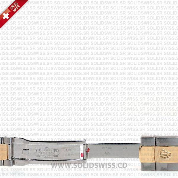 Rolex Datejust Two-Tone 18k Yellow Gold Green Roman Dial 41mm Swiss Replica Watch