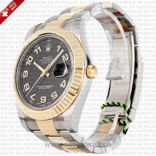 Rolex Datejust Two-Tone Gold Black Arabic Dial 41mm