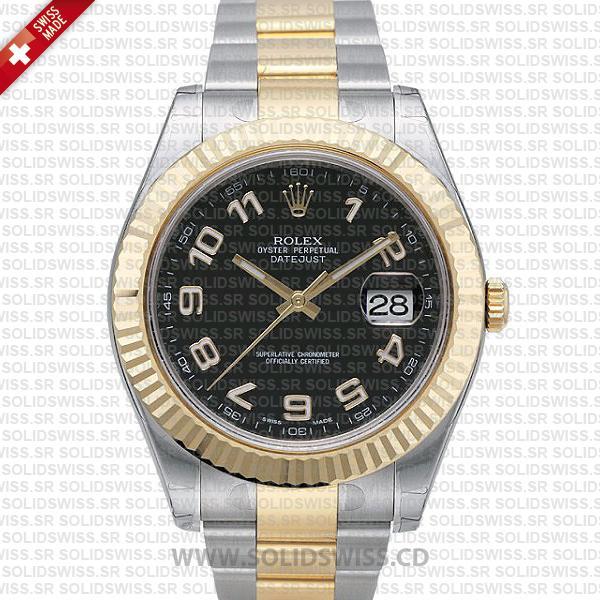 Rolex Datejust Two-Tone Gold Black Arabic Dial | Replica Watch