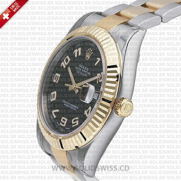 Rolex Datejust Two-Tone Gold Black Arabic Dial