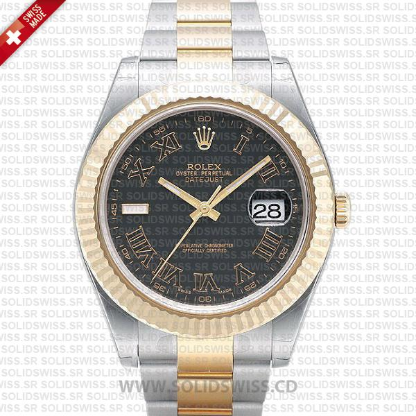 Rolex Datejust Two-Tone Gold 41mm | Black Roman Dial Watch