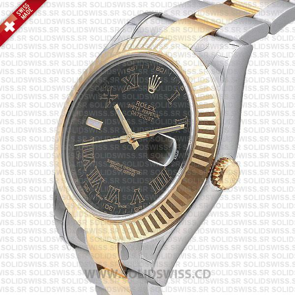Rolex Datejust Two-Tone Gold Black Roman Dial
