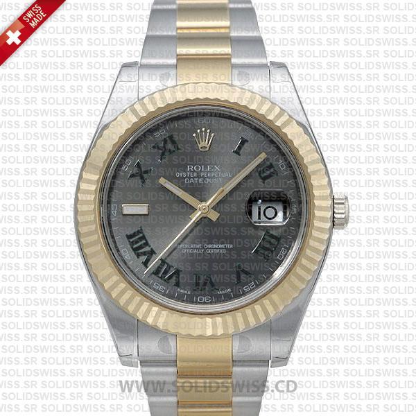 Rolex Datejust 2Tone Green Roman