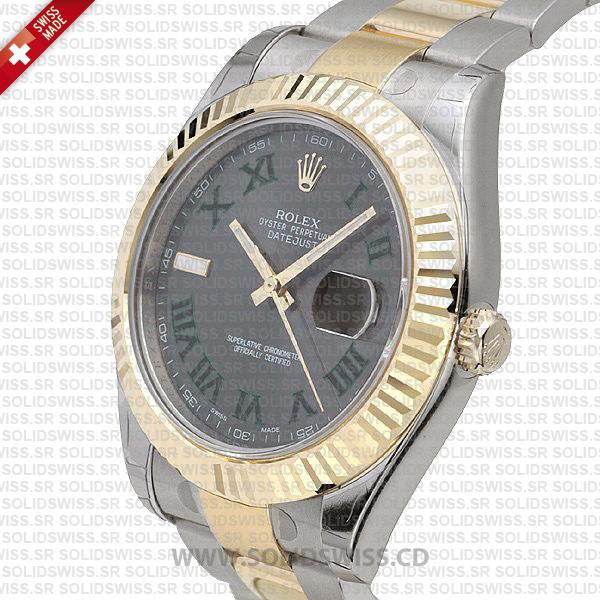 Rolex Datejust Two Tone 41mm Green Dial Watch