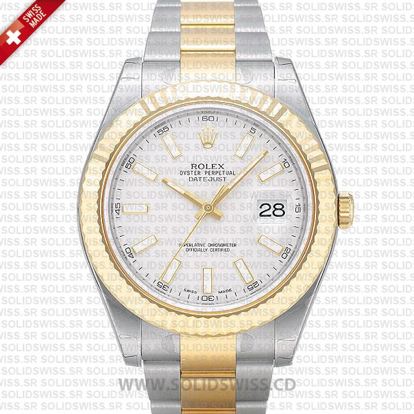 Rolex Datejust Two Tone White Dial 41mm Watch | Solidswiss