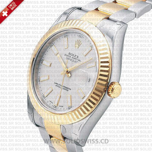 Rolex Datejust Two Tone White Dial 41mm Watch