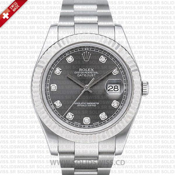 Rolex Datejust Black Dial Diamonds | Stainless Steel Replica