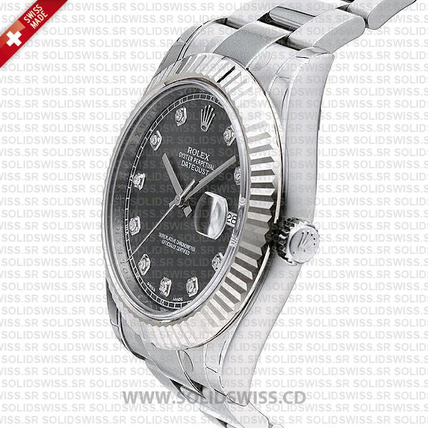 Rolex Datejust Black Dial Diamonds