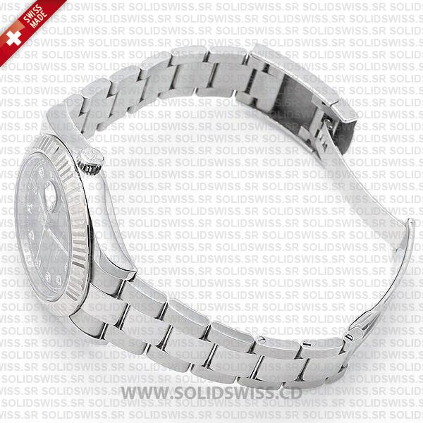 Rolex Datejust 18k White Gold Black Diamonds Dial Watch