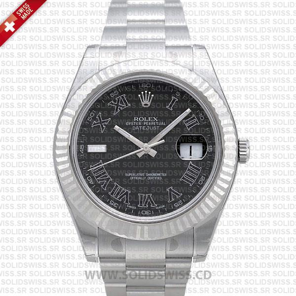 Rolex Datejust Roman 41mm   Black Dial Swiss Replica Watch