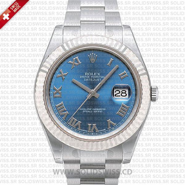 Rolex Datejust Blue Roman Dial   41mm Swiss Replica Watch