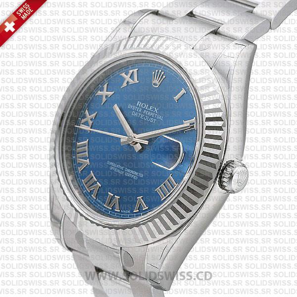 Rolex Datejust 18k White Gold Fluted Bezel
