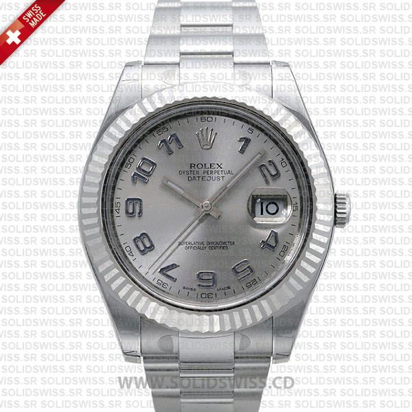 Rolex Datejust Arabic Silver Dial 904L Steel | Replica Watch