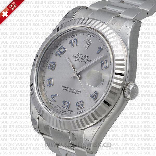 Rolex Datejust Arabic Silver Dial 904L Steel