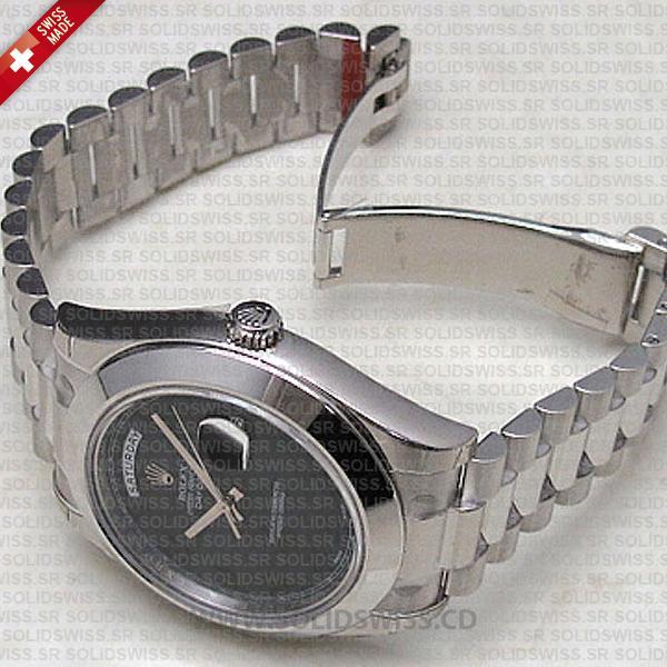 Rolex Day-Date II White Gold Black Arabic Dial