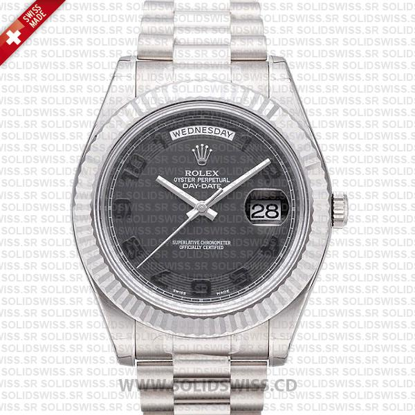 Rolex Day-Date II White Gold Black Arabic Dial Replica Watch