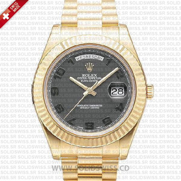 Rolex Day-Date II Gold Black Arabic