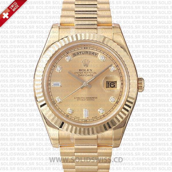 Rolex Day-Date II Yellow Gold Diamond Dial | Replica Watch