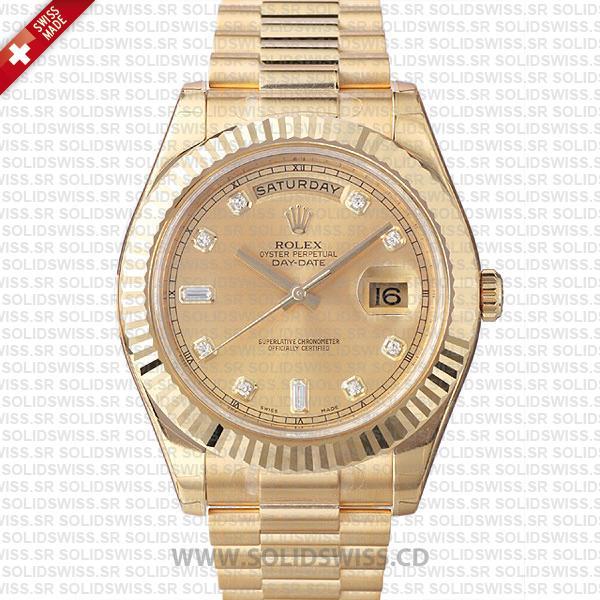 Rolex Day-Date II Yellow Gold Diamond Dial | Replica Watch