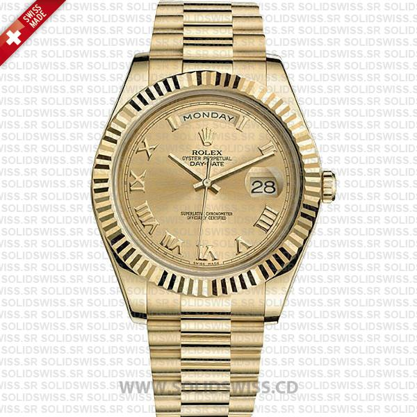 Rolex Day-Date II Yellow Gold Roman Dial 41mm Replica Watch