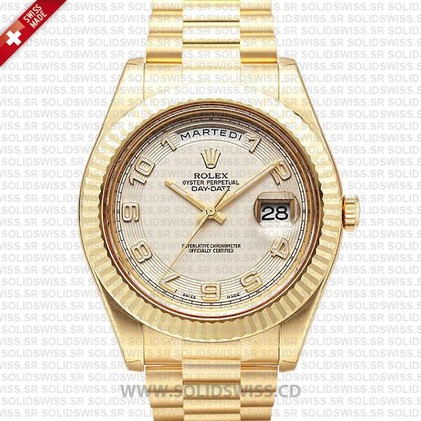 Rolex Day-Date II Yellow Gold Replica Watch | White Arabic Dial