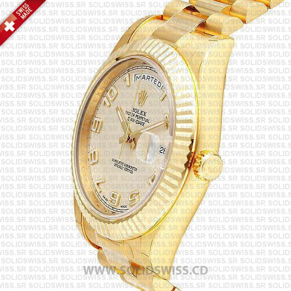 Rolex Day-Date II Yellow Gold White Arabic Dial