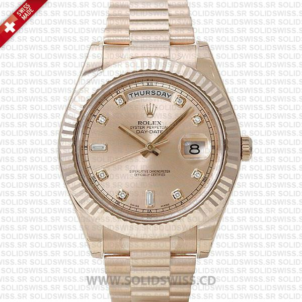 Rolex Day-Date II Rose Gold Diamond Dial Watch | Solidswiss