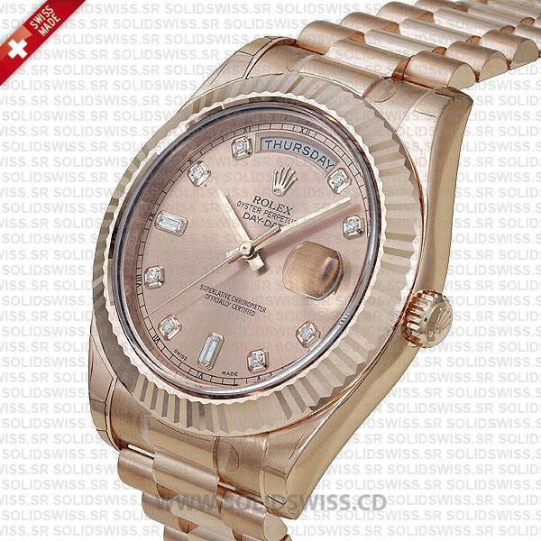 Rolex Day-Date Rose Gold Gold Diamonds