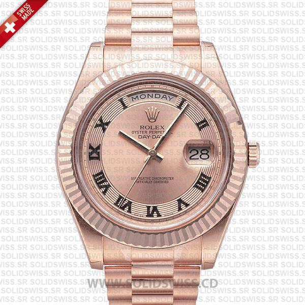 Rolex Day-Date Rose Gold Gold Roman