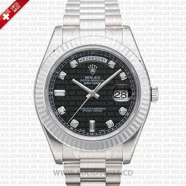 Rolex Day-Date II White Gold Black White | Swiss Replica Watch