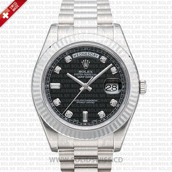 Rolex Day-Date II White Gold Black White   Swiss Replica Watch