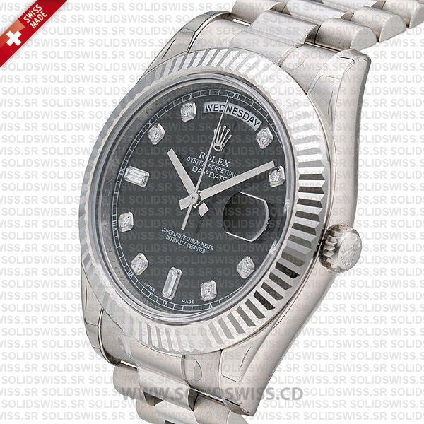 Rolex Day-Date SS Black Diamonds