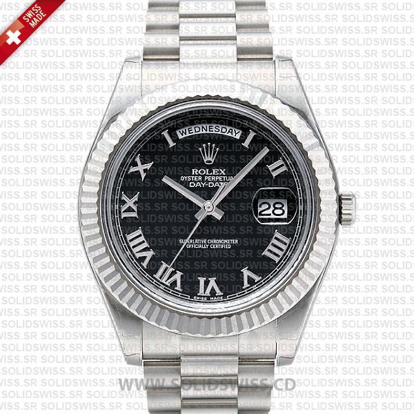 Rolex Day-Date SS Black Roman
