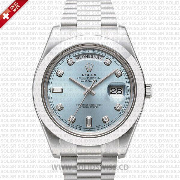 Rolex Day-Date II 41mm White Gold Blue Diamond Dial Watch