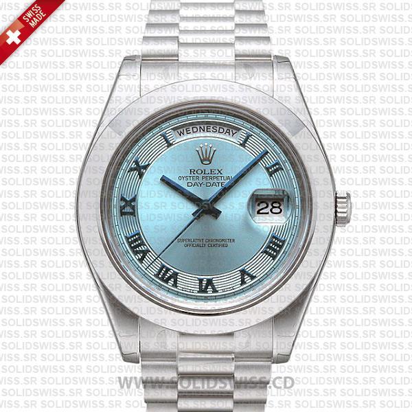 Rolex Day-Date II Platinum Ice Blue Roman Dial | Replica Watch