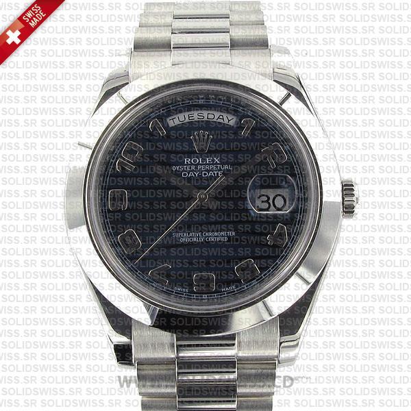 Rolex Day-Date II Platinum Blue Wave Arabic Dial Replica Watch