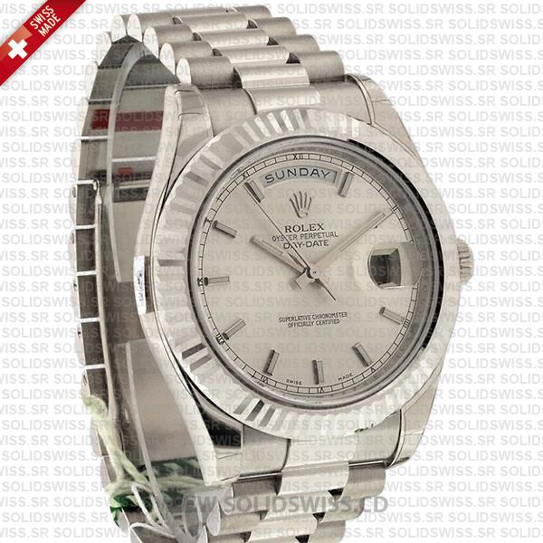 Rolex Day-Date II Silver Dial Stainless Steel | Swiss Replica