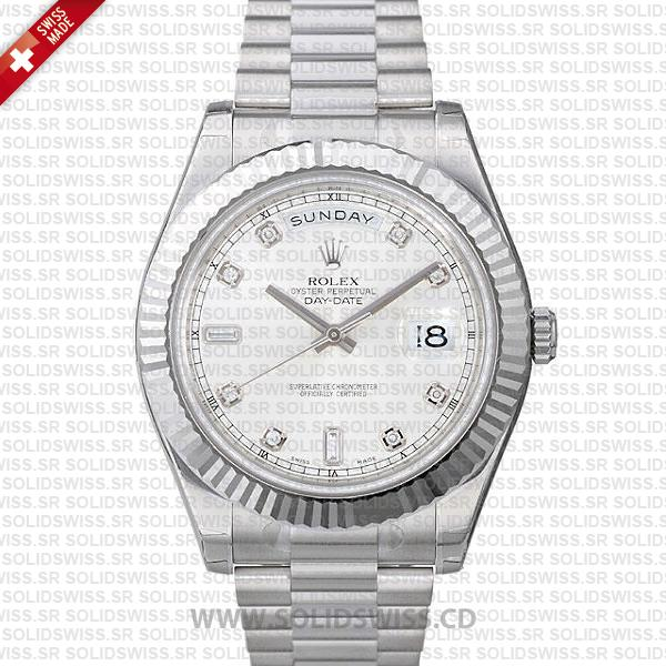 Rolex Day-Date II White Gold Silver Diamond Dial   Solidswiss