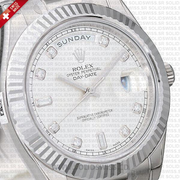 Rolex Day-Date SS Silver Diamonds