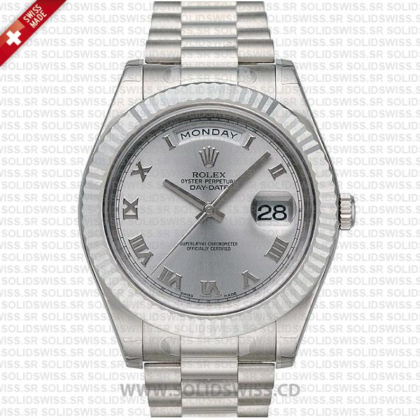 Rolex Day-Date II White Gold Stainless Steel   Silver Roman Dial