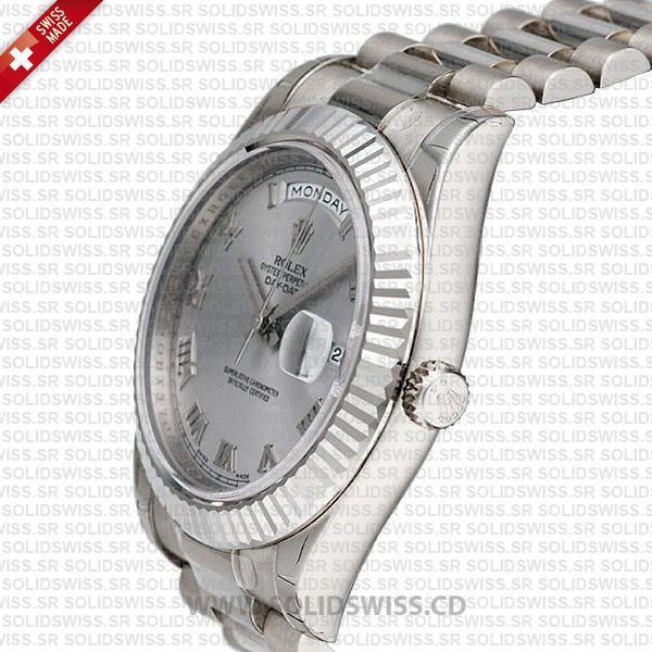 Rolex Day-Date SS Silver Roman