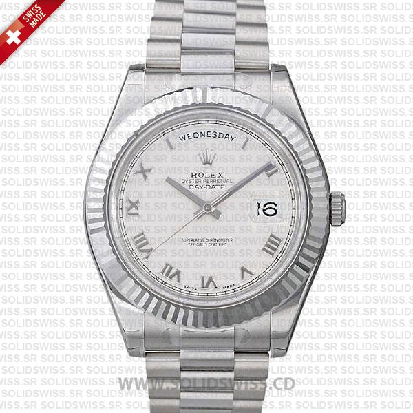 Rolex Day-Date II White Gold 41mm White Roman Dial Replica