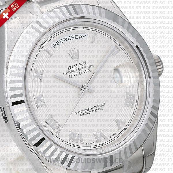Rolex Day-Date SS White Roman