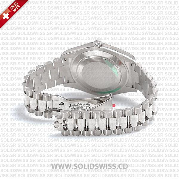 Rolex Day-Date II White Gold Black Arabic Dial, 904L Steel