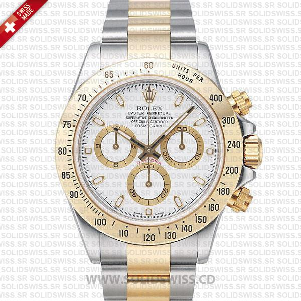 Rolex Daytona Two-Tone 18k Yellow Gold White Dial | Solidswiss