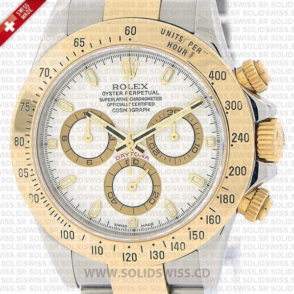 Rolex Daytona Two-Tone 18k Yellow Gold White Dial